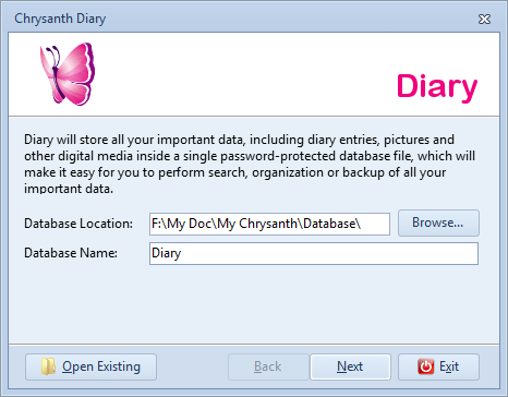 Specify new diary database location and name